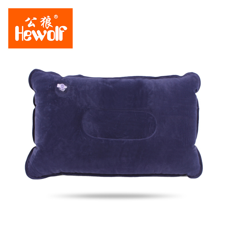 Hewolf flocked fabric 36*26*9cm Square U-shaped inflatable pillow Air Cushion outdoor camping hiking travel tools