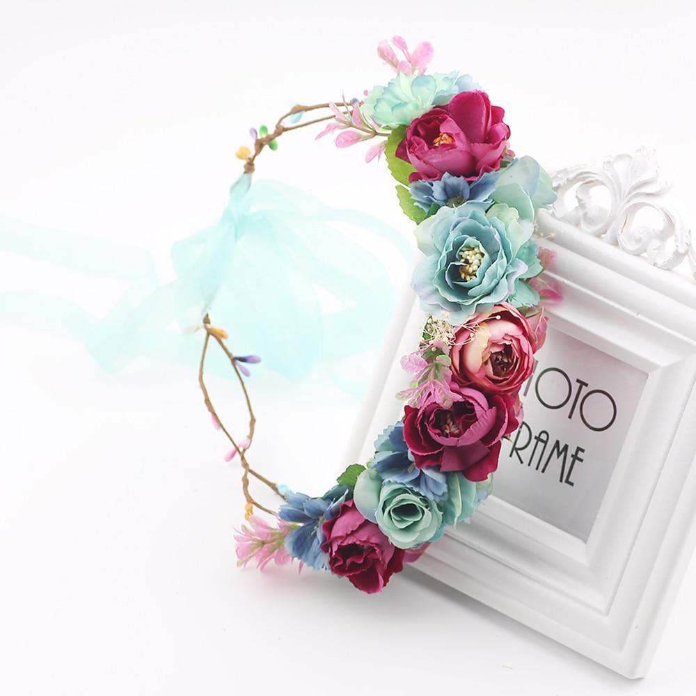 Women Charm Flower Tiara Wedding Floral Headband Hair Accessories Bridal Garland Princess Wreath Girls Crown Headdress Party