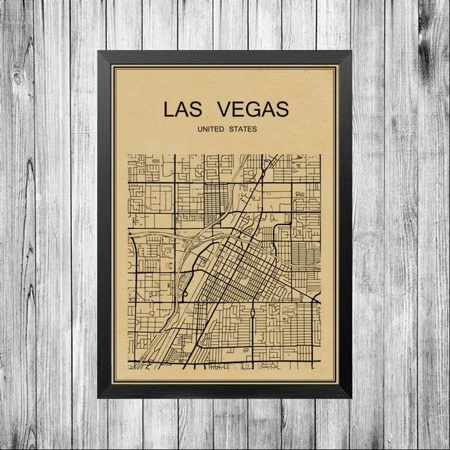 Las Vegas USA Map World City Canvas Art Painting Poster wall sticker ...