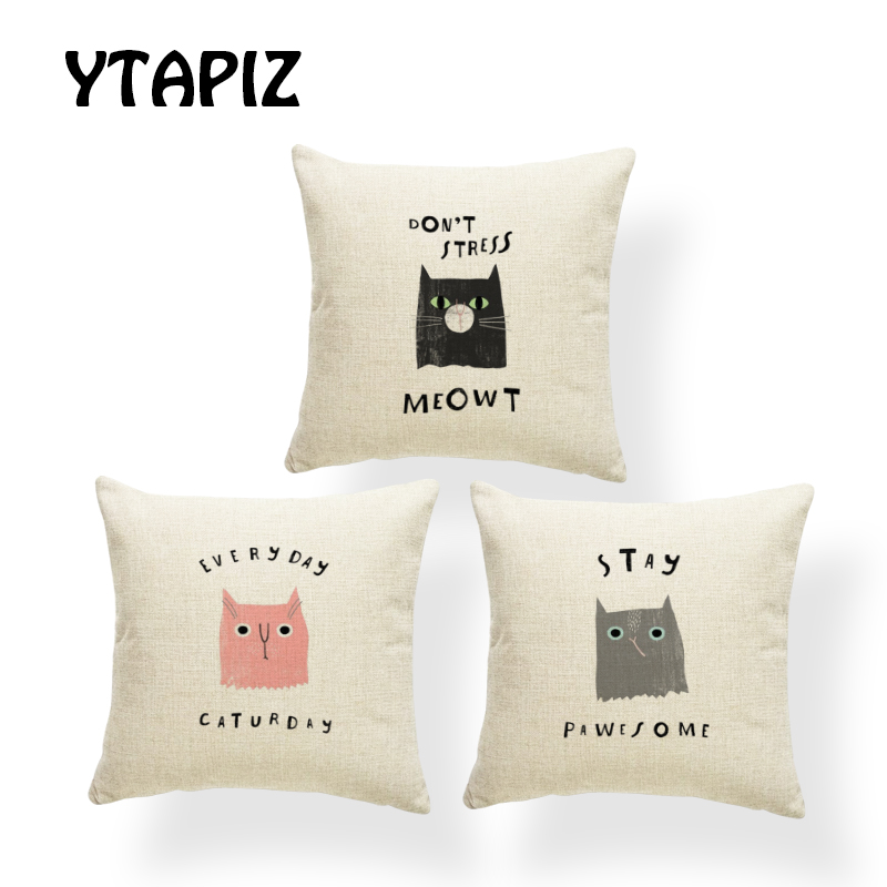 Personalized Cartoon Cover Pillow Set Gray Letters Black Eyes Pink Brown Decorative Bedroom Sofa Cushion Cover 45*45 Polyester