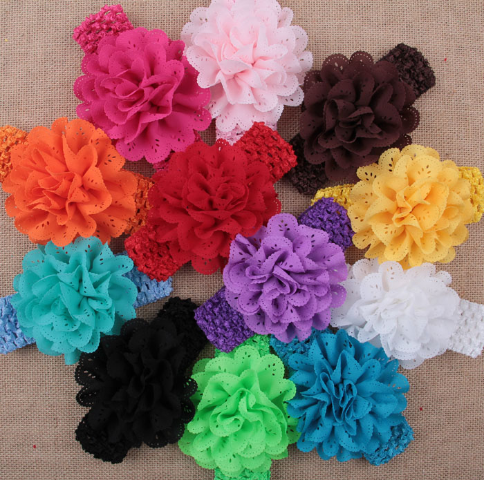 Wholesale Hot Sale Girl Baby Toddler Lace Flower Headband Eyelet Flower With Knit Hair Band Accessories Children Headwear