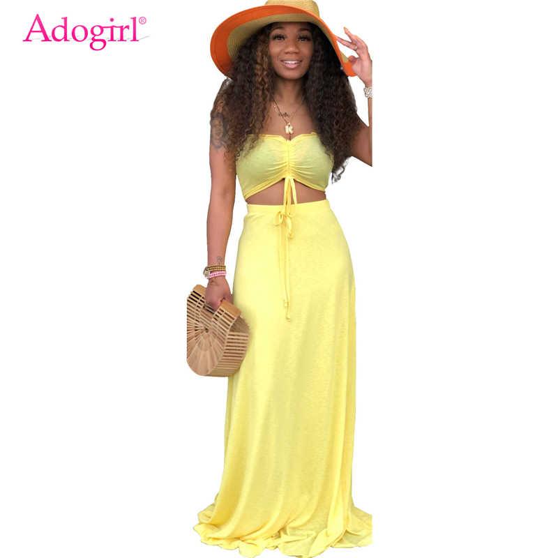 Adogirl одноцветное повседневное комплект из двух предметов летнее пляжное платье шнурок без бретелек укороченный топ + юбка макси для женщи