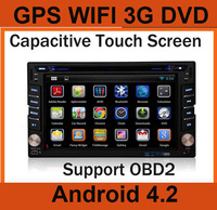 Araba PC Çift Iki 2 din Android Araba dvd universal player GPS + Wifi + Radyo + Stereo + Kapasitif dokunmatik Ekran + 3G, Araç ses video