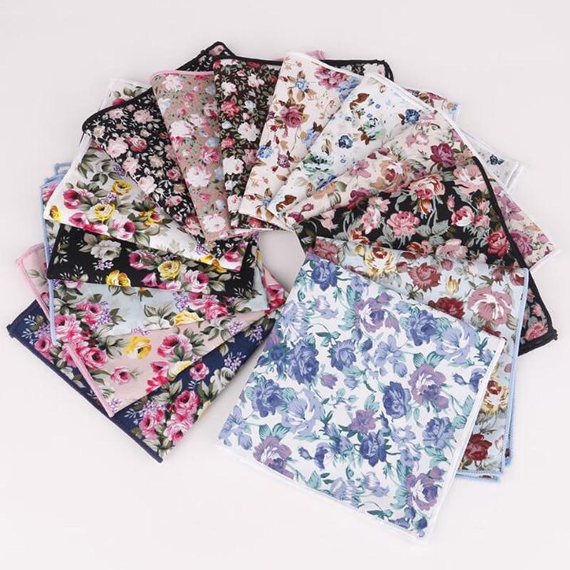 RBOCOTT Men's Handkerchief Cotton Floral Pocket Square 25cm*25cm  For Men Party Business Wedding Accessories