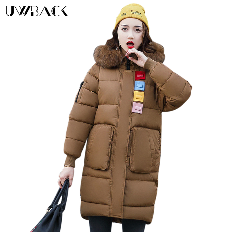 Uwback Women Jacket Winter Faux Fur Coat Slim Female Casual Thicken Outwear Long Mujer Warm Patchwork Jacket Plus Size EB258 uwback 2016 new brand winter jacket women plus size 4xl faux fur collar down coat women black thicken padded parkas mujer tb1181