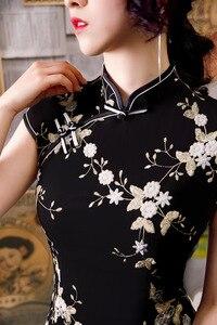 Image 4 - 黒ノベルティ刺繍レース膝丈 Silm レディースチャイナドレス中国風のステージショーエレガントな古典袍 M 3XL