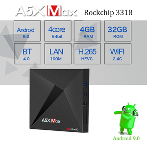 Image 4 - A5X MAX Smart Android 9.0 TV Box 4K HD TV Box RK3318 Quad Core Media Player Support 2.4G WiFi Wireless 100M LAN Set top Box