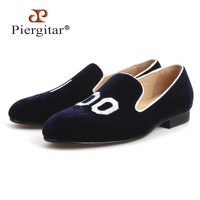 Piergitar 2018 New style Handmade Men Loafers With Initial Embroidery Leather insole Slip on Fashion party and wedding men shoes