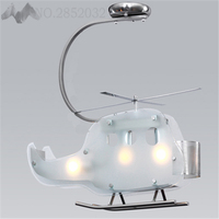 LFH Creative Modern Cartoon Children Helicopter Shape LED Glass Ceiling Lights White Plane Lampshade Lamps for Kids Bedroom Cafe