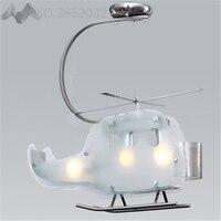 Lfh/Креатив современный мультфильм детей в форме вертолета светодиодный стеклянные потолочные лампы белый самолет абажур лампы для детей сп