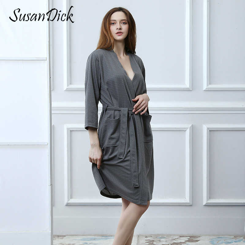 7f61e53fc468d SusanDick Sexy Bathrobe Women Three Quarter Sleeve Ladies Waffle Cardigan  Robe Nightgown Autumn Kimono Robe Knitted