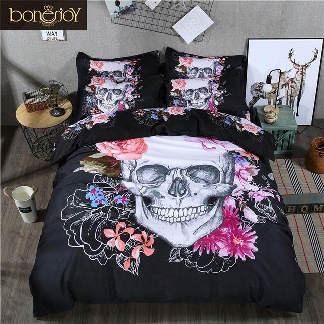 3D Skull Bedding Set Queen Size 34 Pcs Sugar Skull