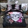 3D Skull Bedding Set Queen Size 3 4 Pcs Sugar Skull Bedding With Flower Bed Linen