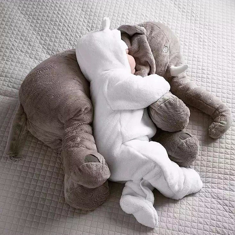 65cm Plush Elephant Toy Baby Sleeping Back Cushion Soft Stuffed Pillow Elephant Doll Newborn Playmate Doll Kids Birthday Gift