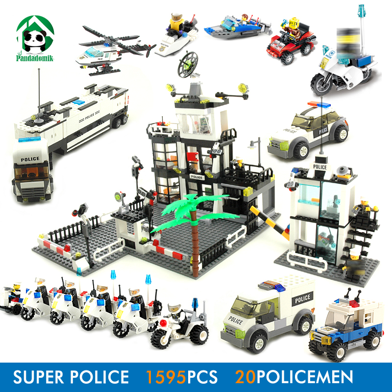 Super Large City Police Station 1595Pcs Building Blocks Bricks Constructor set Educational Toys for Children compatible Brick 6727 city street police station car truck building blocks bricks educational toys for children gift christmas legoings 511pcs
