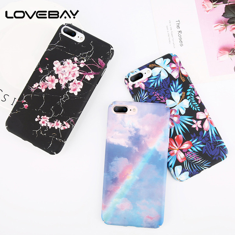 Lovebay Phone Case For iPhone X 8 7 6 6s Plus Vintage Flowers Colorful Floral Rainbow Hard PC Back Cover Cases For iPhone X Capa