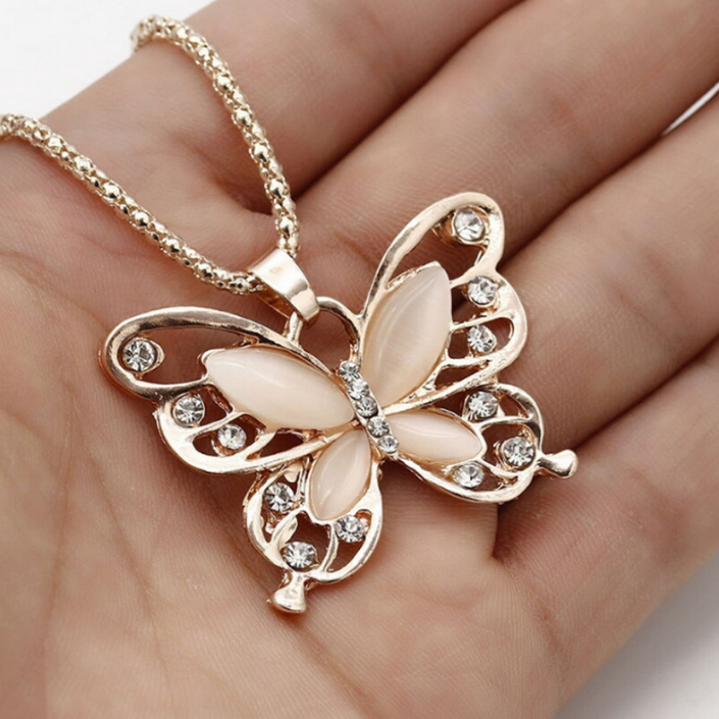 XIAOJINGLING New Fashion Crystal Butterfly Link Chain Necklaces Trendy Animal Pendant Necklace Sweather Chain Christmas Jewelry