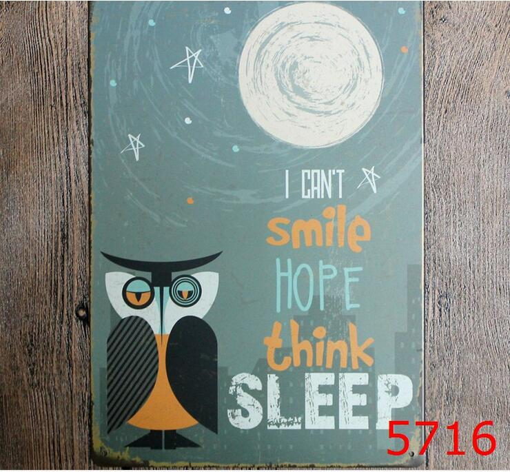 Night owl printing metal wall sticker vintage tin painting house tin signs painting board house decor