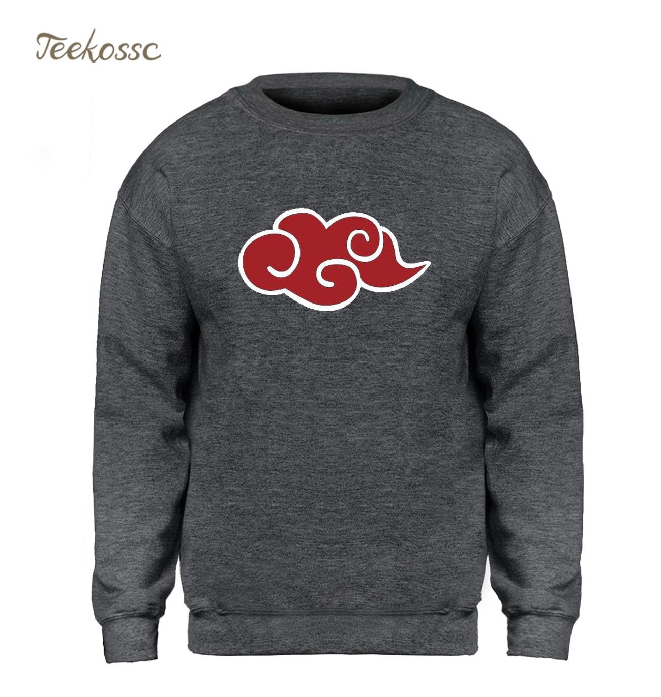 Naruto Akatsuki Hoodie Men Japan Anime Red Cloud Sweatshirt 2018 Winter Autumn Fleece Warm Slim Sweatshirts Mens Brand Clothing