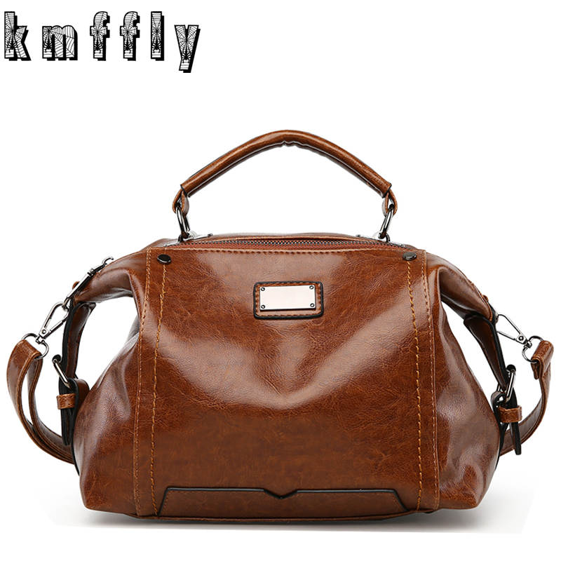 2017 Vintage Oil Wax Leather Women Handbags Famous Brand Messenger Bag Sac A Main Femme Marque Top-handle Bags Ladies Hand Bags