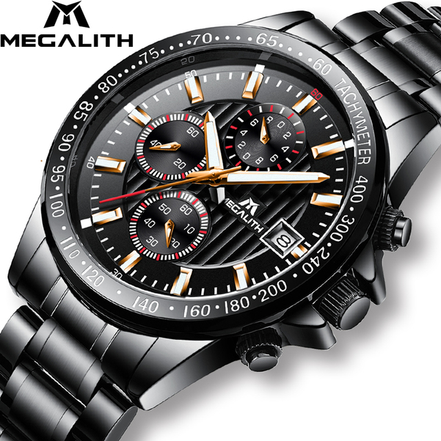 MEGALITH Sport Chronograph Watches Men Quartz Top Brand Analog Military Watches Men Waterproof Army Male Clock Relogio Masculino