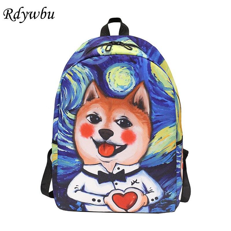 RüCksichtsvoll Rdywbu Nette Cartoon Katze Öl Gedruckt Schule Tasche Spaß Van Gogh Rucksack 3d Graffiti Reisetasche Tier Blume Rucksack Mochilas B506 Rucksäcke Herrentaschen