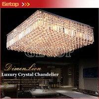 Meilleur Prix Moderne K9 Lustres En Cristal Carré LED Luminaires Salon Restaurant Plafond Lampe E14 Éclairages Intérieurs