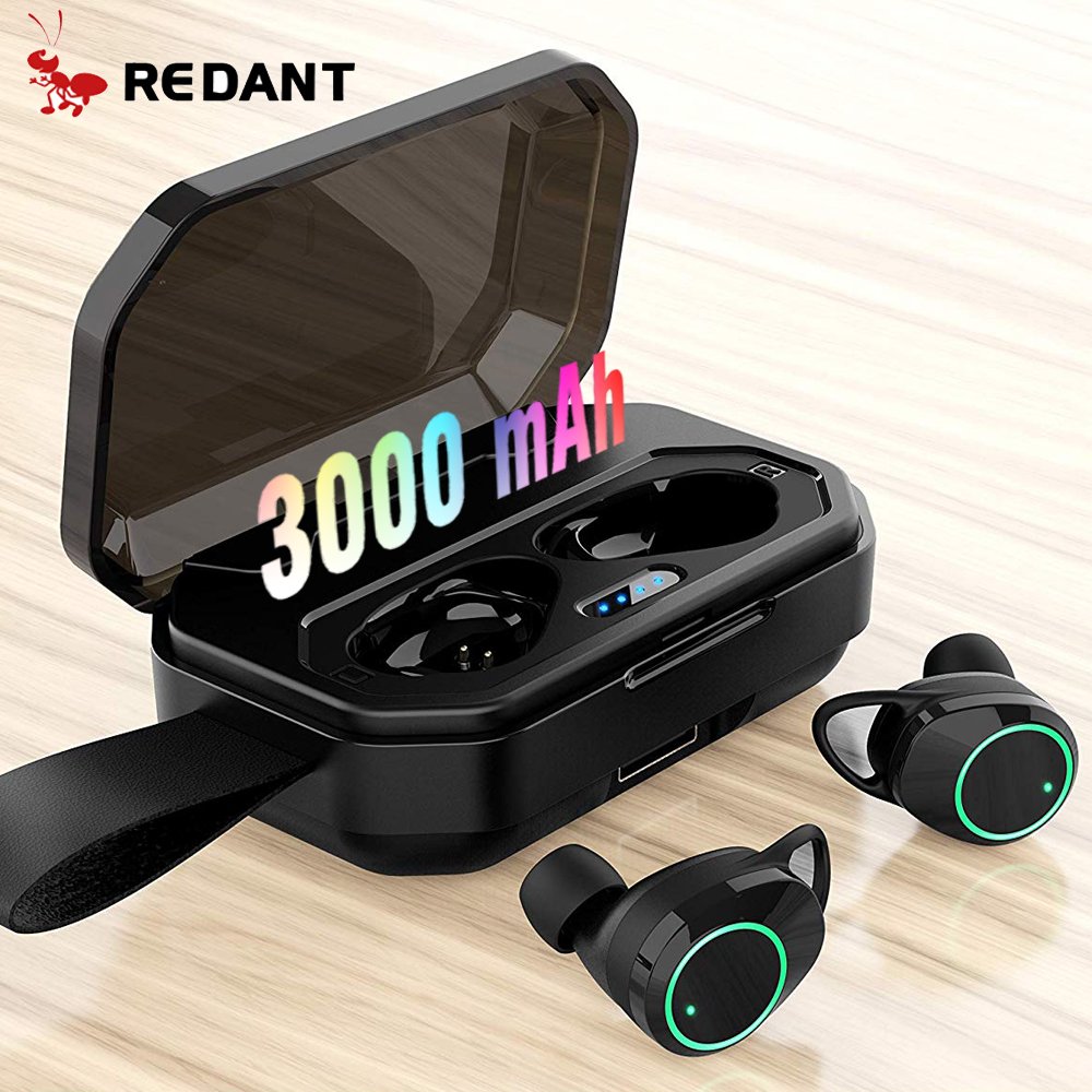 REDANT Waterproof Bluetooth Earphones with Mic Ture Wireless Earbuds Sports earphone Noise Cancelling Headset and Charging Box