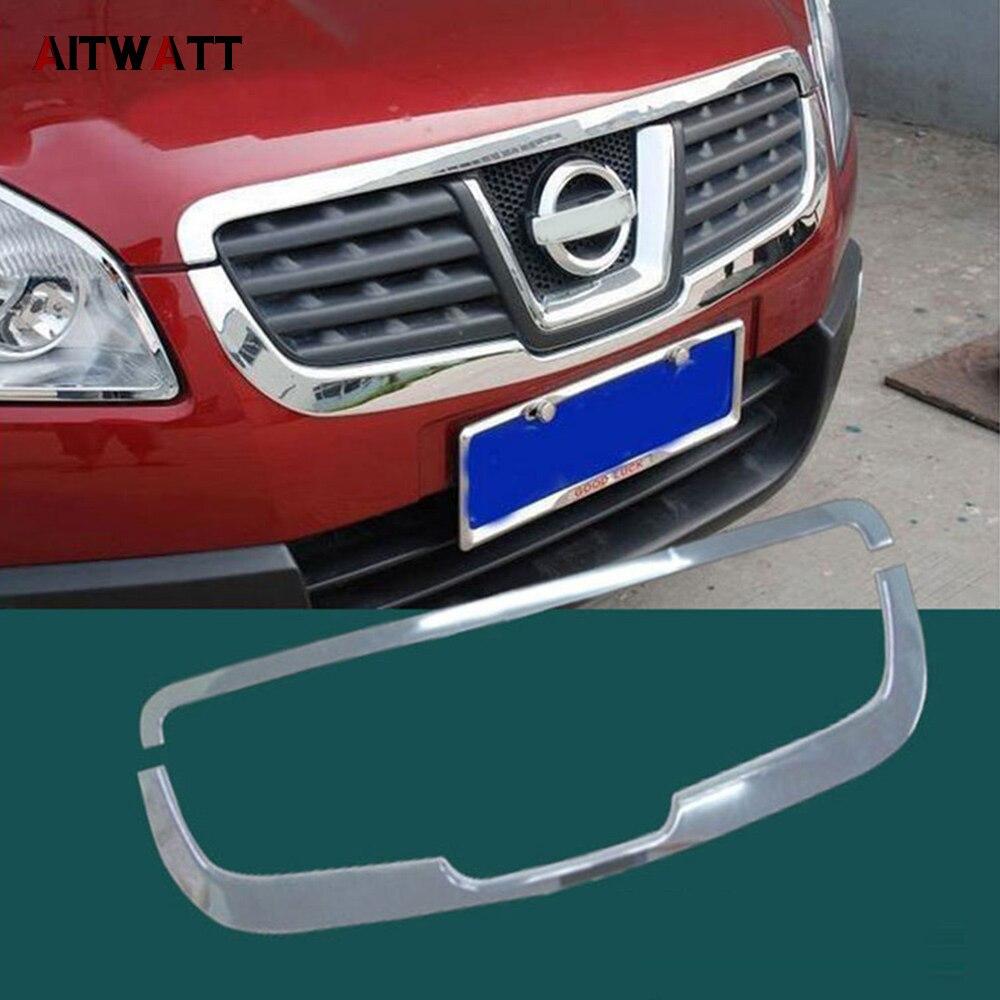 AITWATT accessoires extérieurs de voiture ABS Chrome avant Center Grille Grille couverture garniture 2 pièces pour Nissan Qashqai 2007-2013