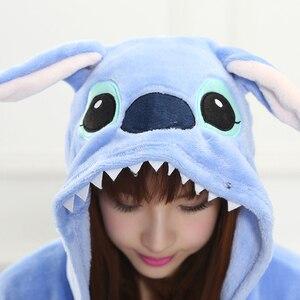 Image 4 - Adult Blue Stitch Kigurumi Onesie Women Girl Fancy Ainme Cosplay Costume Party Cartoon Pig Animal Jumpsuit Home Suit Pajamas