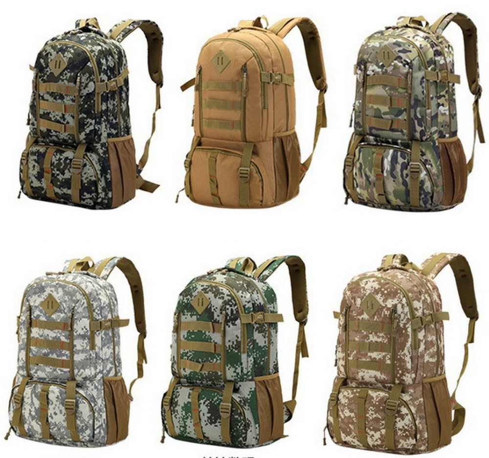Waterproof Camo Military Tactical Backpack Mountaineer Hiking Camping Hunting Backpack Outdoor Sports Bag Rucksack 50L  цены