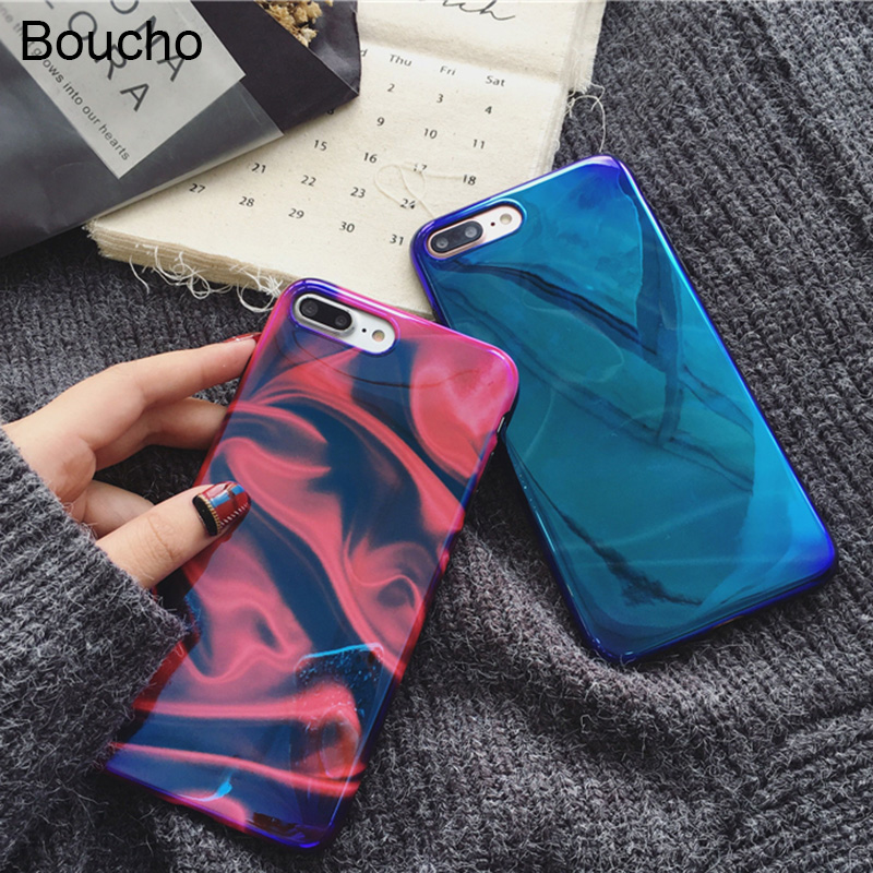 Boucho Cool Blu-ray Glossy Phone Case For iphone 6 6s 7 8 plus Cases For iphone X Soft Silicone Couples Case Back Cover Capa