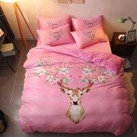 2017 New 4 Pieces Fleece fabric Luxury Bedding Set Cartoon Elk Bed Set Twin Queen Bed Linens Duvet Cover Bed Sheet