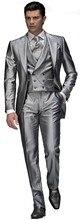 Newest Groom Tuxedo Groomsmen Shiny Silver Gray  Wedding/Dinner/Evening Suits Best Man Bridegroom (Jacket+Pants+Tie+Vest) B22