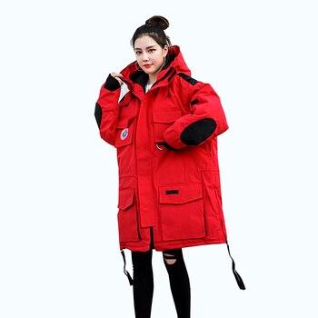 2019 Winter Women coat fashion Down Jackets Thick Warm Hooded Long Sleeve Parkas Ladies Korean version Loose Plus Size Outerwear