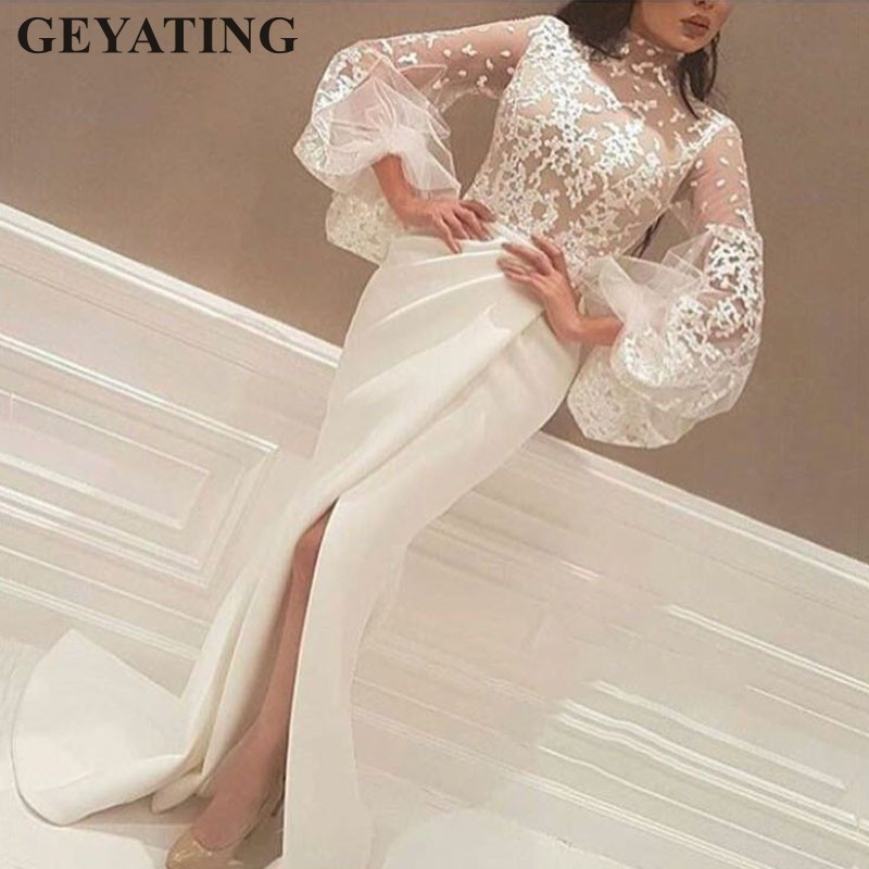 Elegant Mermaid Arabian   Evening     Dresses   Long Sleeves High Neck White Long Dubai Prom   Dress   2019 Lace Women Formal Party Gowns
