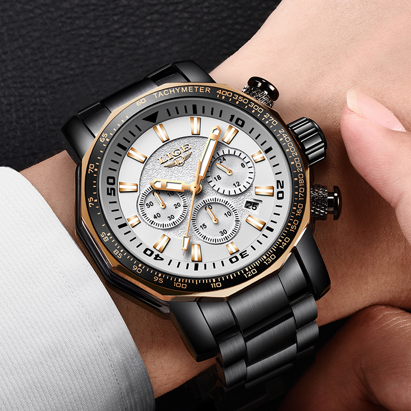 LIGE Fashion Sport Men Watches Top Brand Luxury Stainless Steel Quartz Watch Men Business Watch Waterproof Relogio Masculino+Box men watch top luxury brand lige men s mechanical watches business fashion casual waterproof stainless steel military male clock