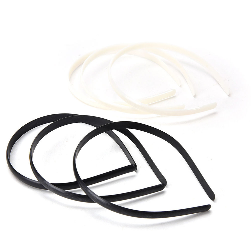 10pcs/lot Fashion Plain Lady Plastic Hair Band Headbands NO Teeth   Headwear   Girl Hair DIY Tool Accessories White Black