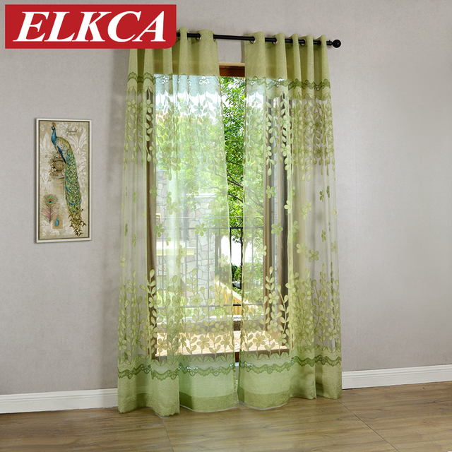 Pink/Green Flower Burnout Tulle Curtains For Living Room