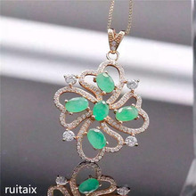 цена KJJEAXCMY boutique jewels  S925 Pure silver natural emerald necklace inlaid jewelry female exotic gemstone pendant chrysanthemum онлайн в 2017 году