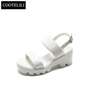 Image 5 - Cootelili mulher sandálias de plataforma cunhas sapatos de verão para mulher casual dedo do pé aberto sandalias sandalias mujer