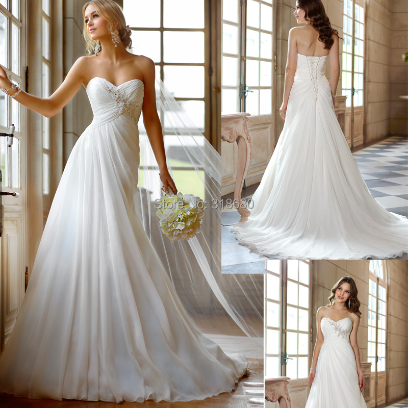 Wedding Gowns For Small Bust: Strapless Ruched Bust Empire Waist Beach Wedding Dress