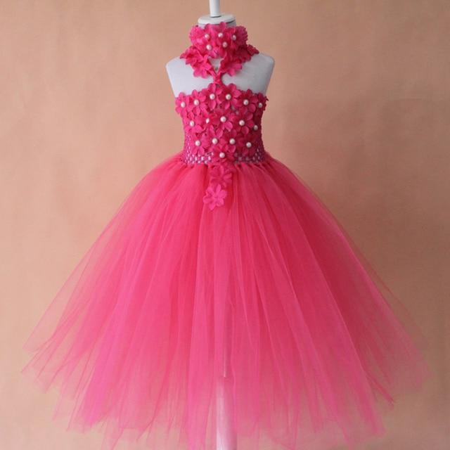 Hot Pink Crochet Tutu Dress For Flowers Girls Wholesale Retail