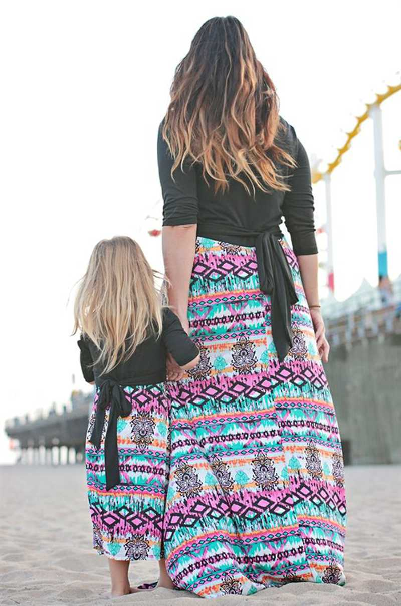 mother daughter geometric dresses 2018 family matching