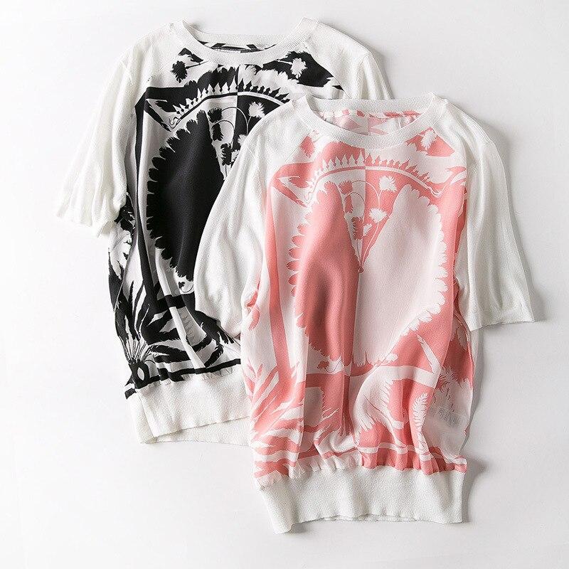 جديد النساء ملابس نسائية في أوروبا و أشجار جوز الهند الطباعة نوعية محبوك الحرير قصير كم T قميص-في تي شيرتات من ملابس نسائية على  مجموعة 1