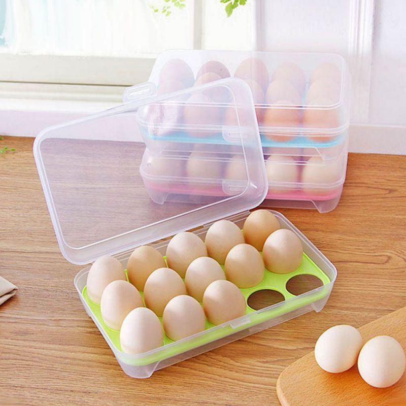 Image 2 - Egg Refrigerator Fresh Box 15 Plastic Egg Rack Kitchen Egg Storage Food Container Efficient Egg Dispenser Storage Box-in Storage Boxes & Bins from Home & Garden