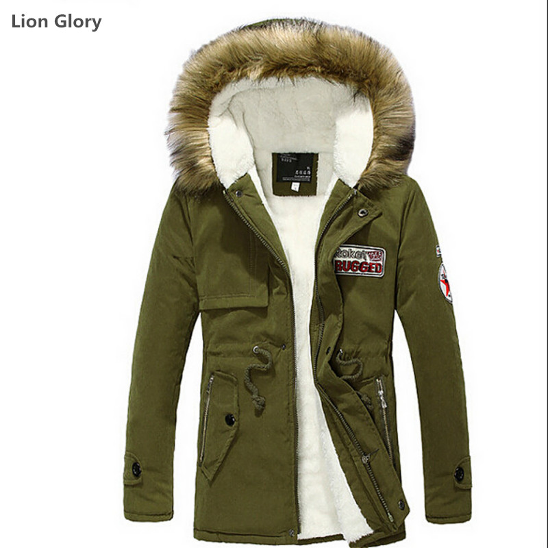 2016 4-color Thicker Coat In The Long Section of Young Men's Fur Hats Cotton-padded Hooded Velvet Thickening Winter Coat