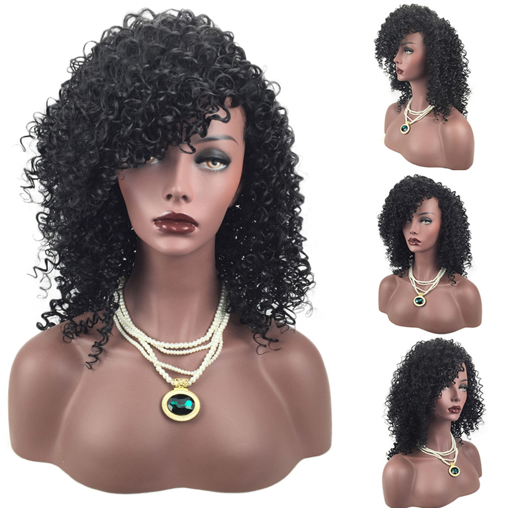 Hot Sale Fashion Synthetic Curly Hair Wigs Soft Woman Short Kinky Hair Jet Black Heat Resistance Fiber Wholesale & Drop Shipping Tools