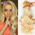 Blonde body wave Virgin Brazilian Human hair 613#  Honey blonde hair weave bundles 4pcs/lot 7A grade brazilian virgin human hair