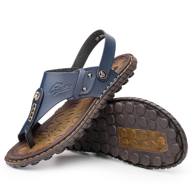 New 2018 Summer Men Sandals High quality Genuine leather Men Slippers Fashion Hook & loop Men Shoes Sandalias Hombre